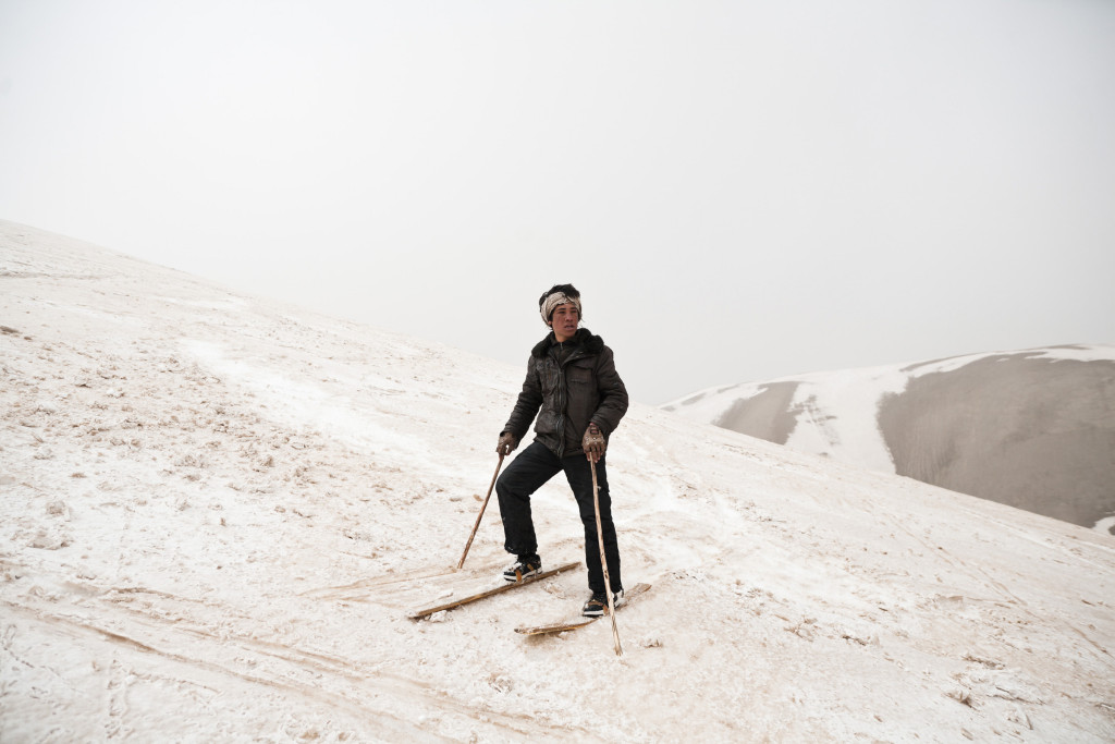 Ski touring with Untamed Borders in Bamiyan, Afghanistan, 2012. Skiers in Chap Dara valley have been inspired by seeing western skiers to make their own out wood, metal and plastic.